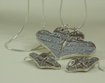 Fine Silver Handcrafted Paired Heart set