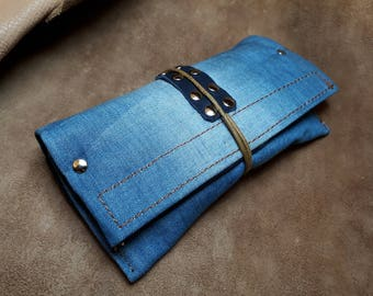 Handmade tobacco in jeans and leather recycled fabric