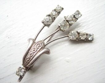 Vintage silver rhinestone wheat sheaf brooch, rhinestone floral brooch