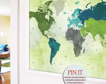 Framed push pin map etsy uk world map framed push pin travel map of the world paper anniversary gift gift for traveler wedding guestbook travel theme nursery gumiabroncs Images