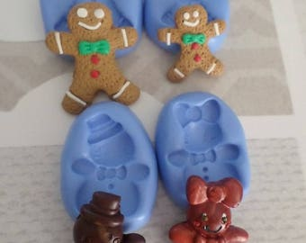 Mold polymer clay Christmas gingerbread cookie 2 + Mr Mrs Biscuit