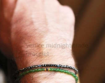 orient green with gem bracelet for men - mens small beads antique green black gold