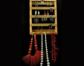 Small Hanging Earring Holder Tree Storage Organizer Display Oak