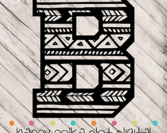 Aztec Letter B SVG digital cutting file for Silhouette Cameo, Cricut Explore, or other personal cutting machines