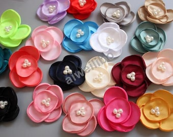 Fabric Flower With Pearl ,Headband Flowers,Diy Hair Appliques Accessories H100053