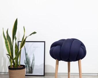 Dark Blue Knot stool, design chair, modern chair, industrial stool, wood stool,