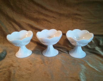 Set of 3 Indiana Glass Colony Harvest Grape Milk Glass Candle Holders