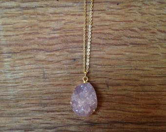 Druzy Necklace, Druzy Pendant, Pink Druzy Pendant, Gold Druzy Necklace, Gift Idea