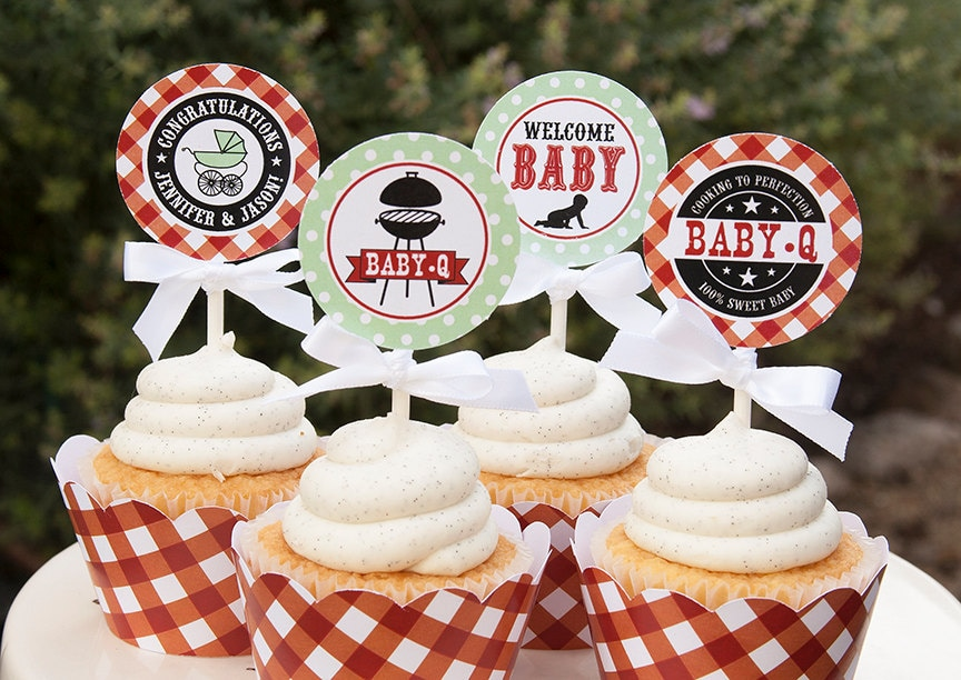 Baby Q Shower Cupcake Toppers Couples BBQ