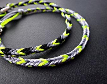Handmade Neon Gray Friendship Bracelet Couple Bracelets Set of 2