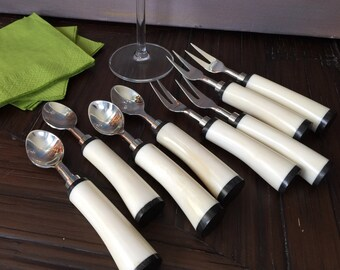 Set of 4 Bone Appetizer Forks or Spoons with Black & White Detailing.