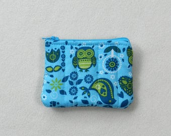 Blue owl mini pouch - Tiny zipper pouch - Mini pouch - Owls on blue - Travel pouch - Accessories case - Coin purse - Credit card case