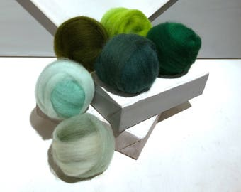 """Green roving sampler, Green Felting wool kit, """"Eat Your Greens"""" Spruce, Mint Green Sage Lime Dark Olive Emerald, wool roving kit, fly tying"""