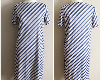 Gray Dress with Blue Stripes by Henry Lee Petites // Blue Striped Dress