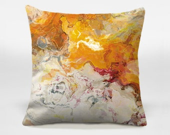 Abstract art pillow cover, 16x16 and 18x18, red, cream and orange decorative pillow, accent pillow, throw pillow, Summer Love