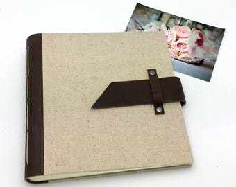 Handbound Scrapbook Album - 8x8 Leather and Linen - In Stock