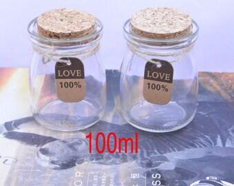 2 small glass bottles, bottles, glass jars, small glass bottles with corks, glass bottle with cork, bulk glass bottles, cork bottles 100ml