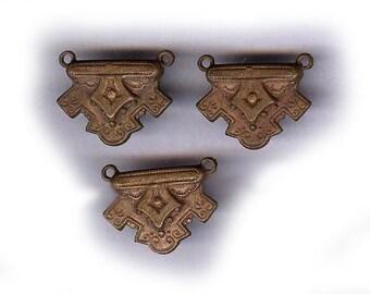 vintage brass connector findings in GOTH or VICTORIAN look loop on each end of top THREE findings