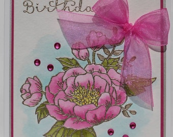Watercolor Pink Peony Birthday Card
