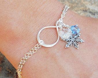 Snowflake Bracelet - Sterling Silver Swarovski Crystal Bracelet - Snowflake Bridesmaid Jewelry - Snowflake Jewelry - Winter Jewelry