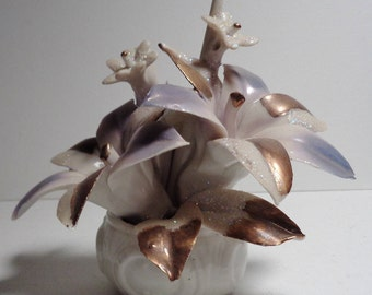 Vintage Capodimonte Lavender, White, Gold Gilt Floral Figurine, Artist Signed, c. 1925-1967, Made in Italy. Hand Painted