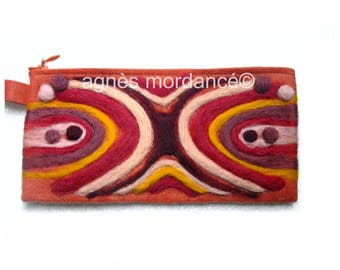 Pouch ethnic - wool needle felted designs - unique