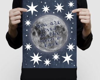 "moon and back artwork or signature guest book 11x14"" print baby shower nursery art or birthday boy girl blue space saying loved to stars"