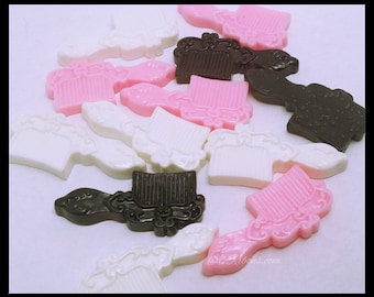 20 PC Vintage Victorian Pink White Black Combs Hair Brush Beauty Plastic Resin Flat backs Scrap book Hair bows Parties DIY Projects Az332