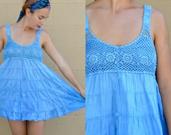 Vintage 90s CROCHET BABYDOLL Mini Tank Dress with Roses Boho Hippie Small Medium