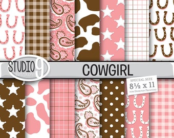 Cowgirl Digital Paper: PINK & BROWN COWGIRL Printable Patterns Cowgirl Pattern Print Cowgirl Download Cowgirl Backgrounds Cowgirl Scrapbook