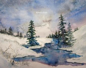 Watercolor Landscape, archival print, winter painting, winter landscape, scenic painting, woodland snow scene, watercolor art, snowfall