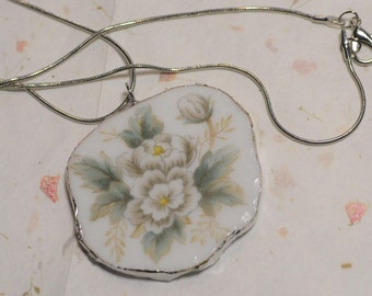 Broken China Plate / Glass Necklace  Pendant + soldered silver *pretty* sterling silver chain
