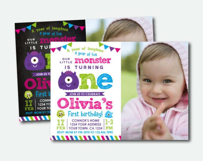Little Monster Invitation with photo, Little Monster First Birthday Party, Monster Invites, Personalized Digital Invitation