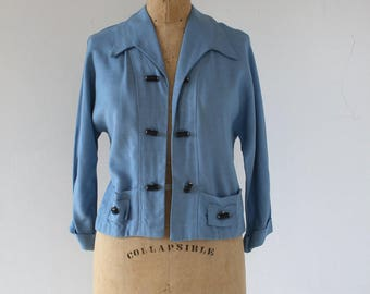 vintage 1950s jacket / 50s baby blue jacket / 50s toggle jacket / 50s linen jacket / 50s sailor jacket / medium large