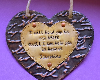 Personalized Memorial Ornament - Hand Stamped Gift - Primitive Rustic Heart