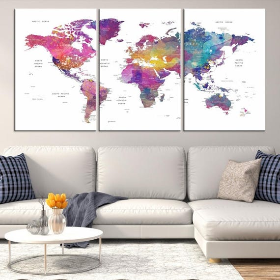 World map canvas print world map canvas art large world map gumiabroncs Image collections