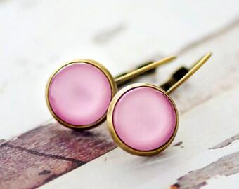 Pastel Pink Lever Back Earrings - FREE POSTAGE WORLDWIDE - Drop Earrings - Pink - Bronze - Glass Earrings - Glass Drop Earrings - Jewelry