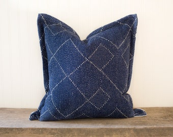 ZIGGY 20 x 20 Indigo & White Pillow Cover with Cotton Back and Silver Zipper