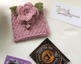Crocheted Tea Travel Purse / Tea Purse / Tea bag Holder - in Organic Pure Cotton - Rose Pink