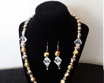 Silber und Gold Diamant-Form Halskette S53977