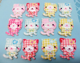 6x 27mm Gingham Kitty Cat Cabochons in Pastel Multicolours