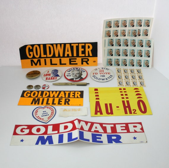 Lot 1964 '64 Goldwater Campaign Buttons, Stickers, Stamps, Pen, Vote Republican Presidential