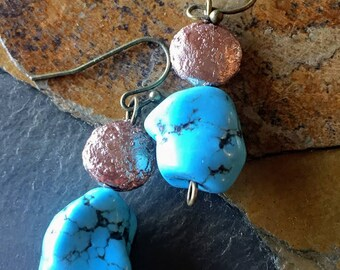 Real Turquoise and Shimmer Bead Earring