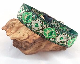 1.5 inch wide dog collar, green dog collar, hound collar, lurcher collar, martingale collar, saluki collar, jacquard collar, whippet collar