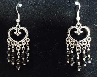 Silver Hearts with 4 mm Black Faceted Crystal Beads Dangle Earrings