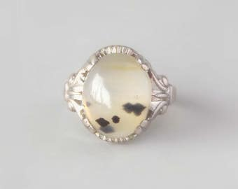 RESERVED / Agate Sterling Ring. 1930s or 40s.