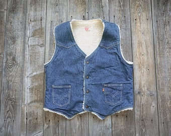 Vintage Levi's Denim Sherpa Vest - Orange Tab - Western Wear - Made in USA - Men's Medium Large