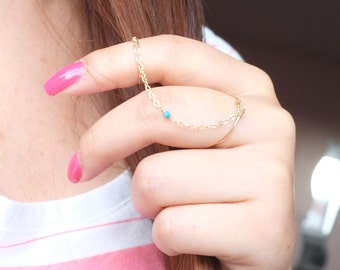 Turquoise Chain Ring / Gold Filled, Gemstone, Blue, Delicate, Dainty / Anabel Nove