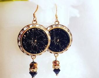 Art Deco Statement Earrings - Vintage Earrings - Black Statement Earrings - BELLE EPOQUE Black