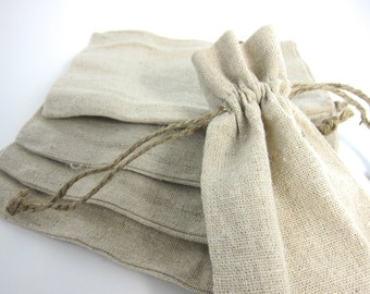 Linen Drawstring Pouch | 10 Medium Natural Linen Bags Pouches (4 by 6 inch) for Jewelry, Earrings, Rings, Pendants, Gift Bag